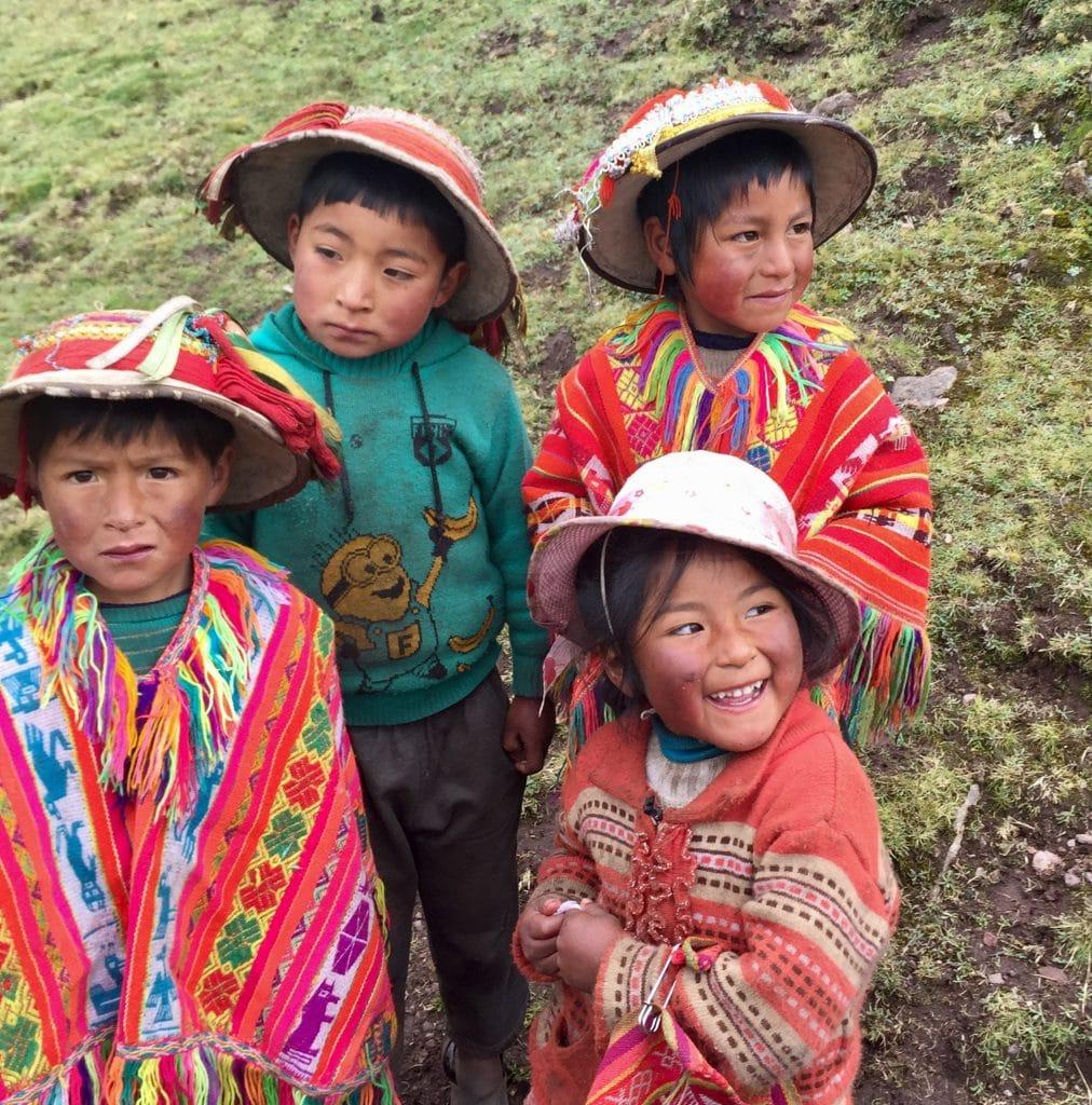 Local children on the Lares trekking route
