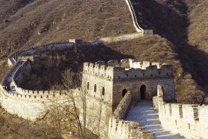 A section of the Great Wall of China on a sunny day