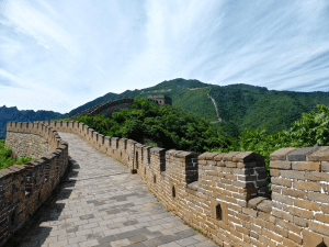 A section of the Great Wall of China from a walker's perspective