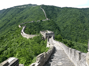 The Great Wall of China expanding into the foreground