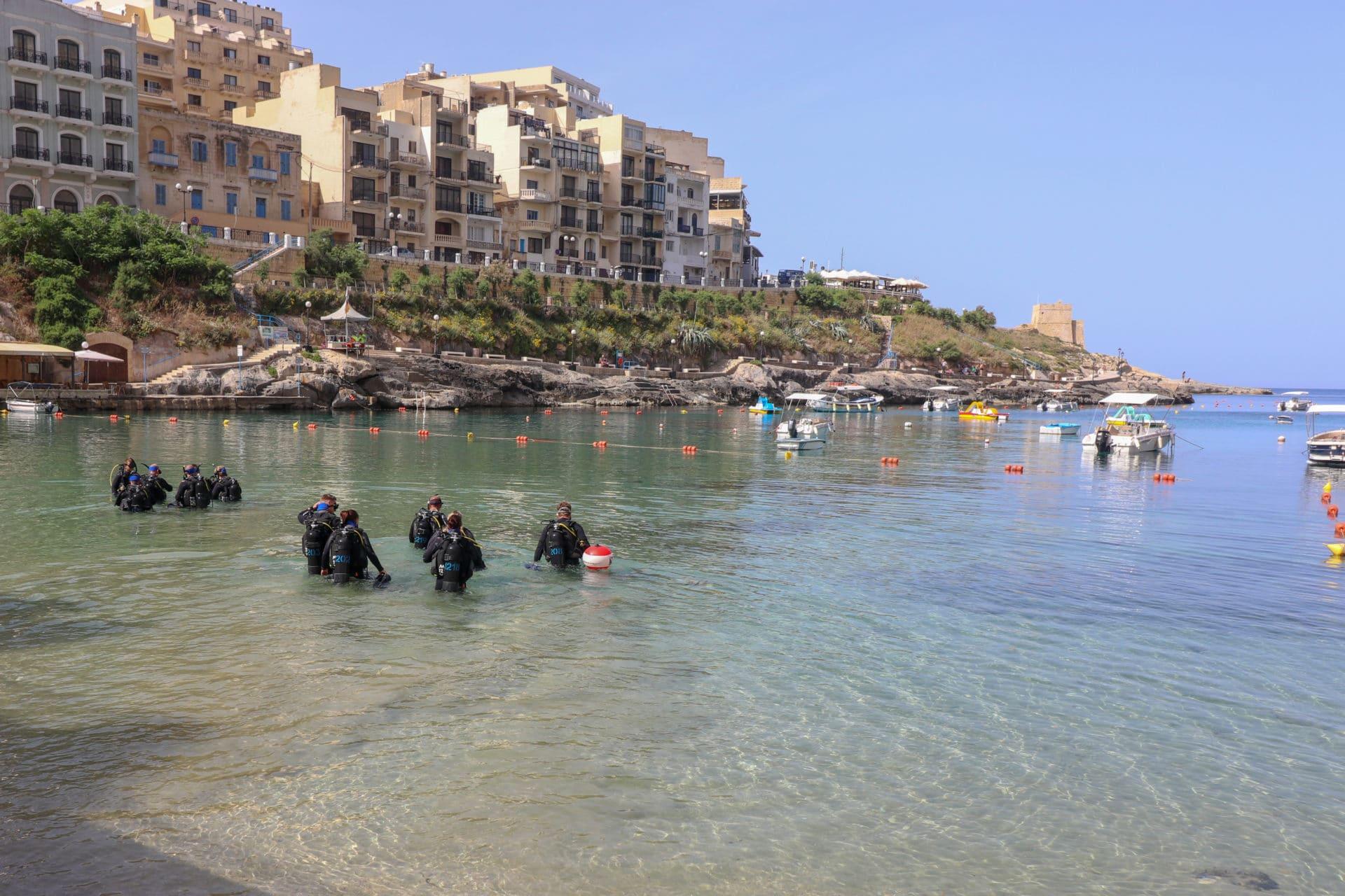 Divers on Padi Open Water Course - Xlendi Bay