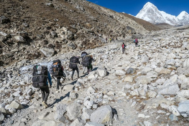 Trekking up the Khumbu Icefall