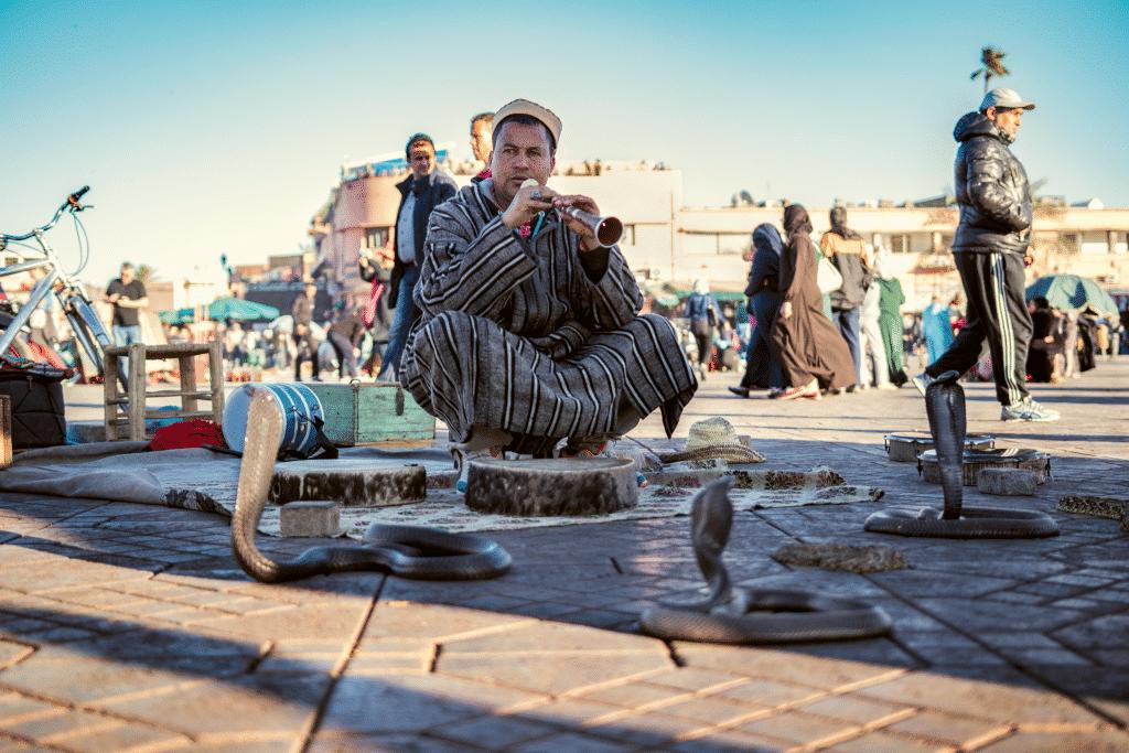 Street entertainers in Marrakech
