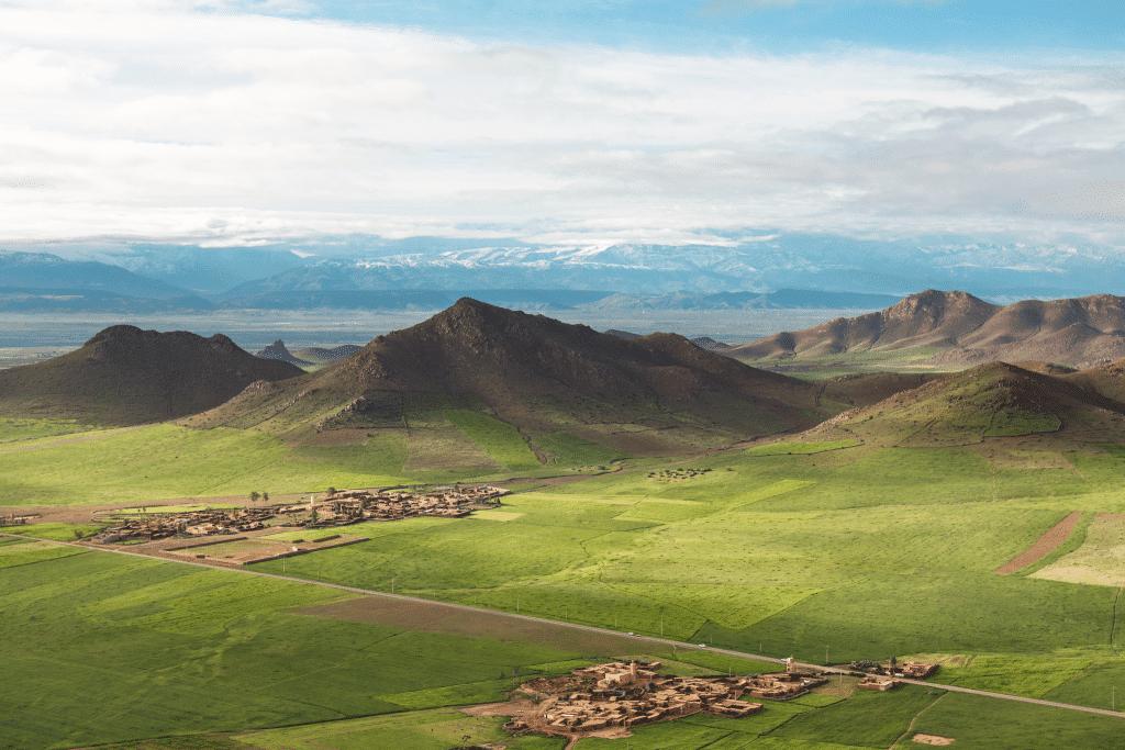 Hot air balloon views on a trip in Morocco