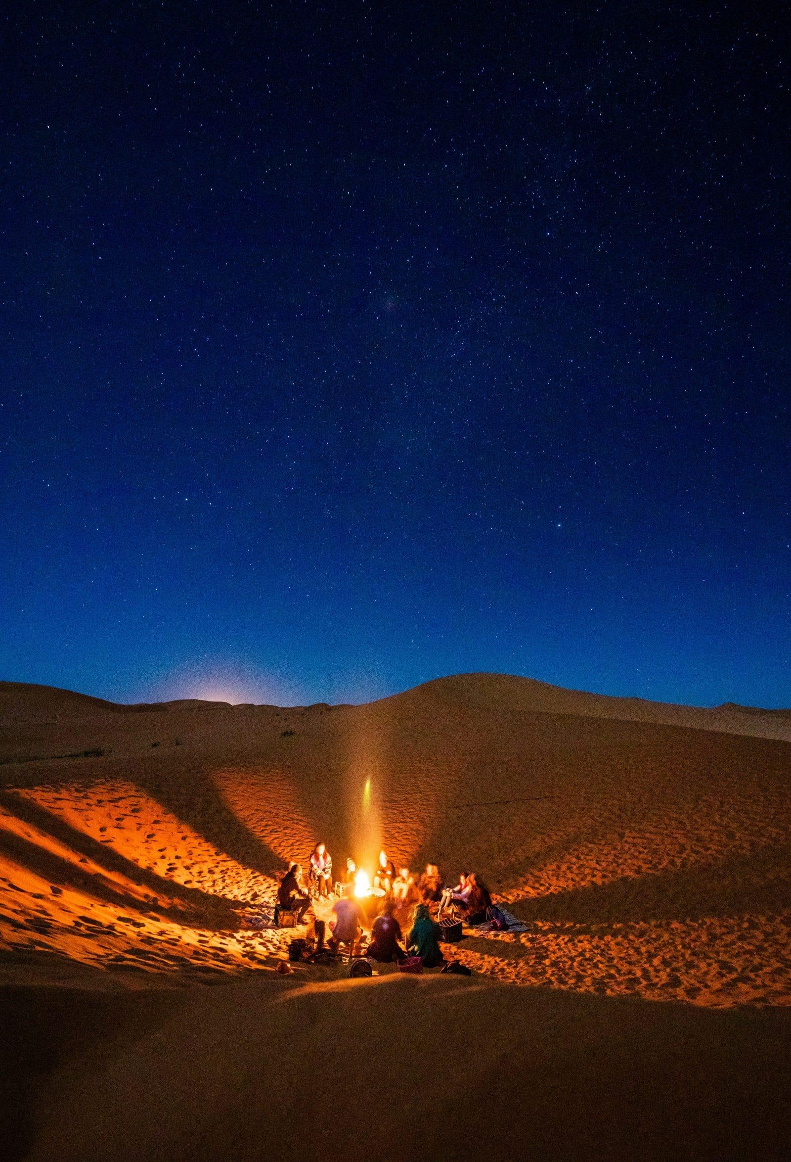 Bonfire in the Moroccan Sahara Desert