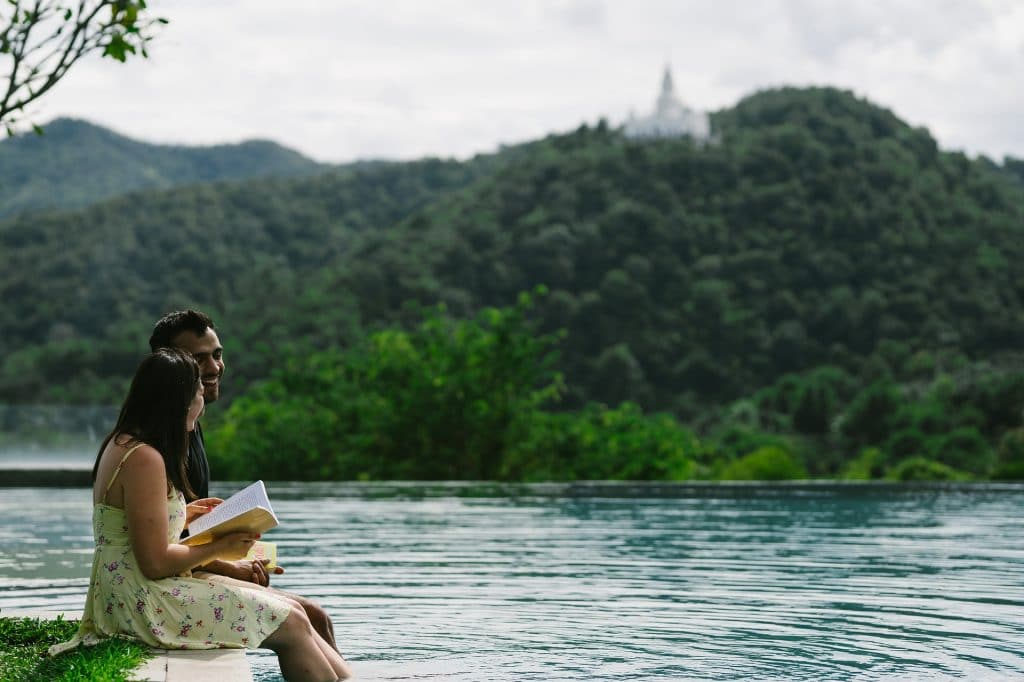 Relaxing couple travelling