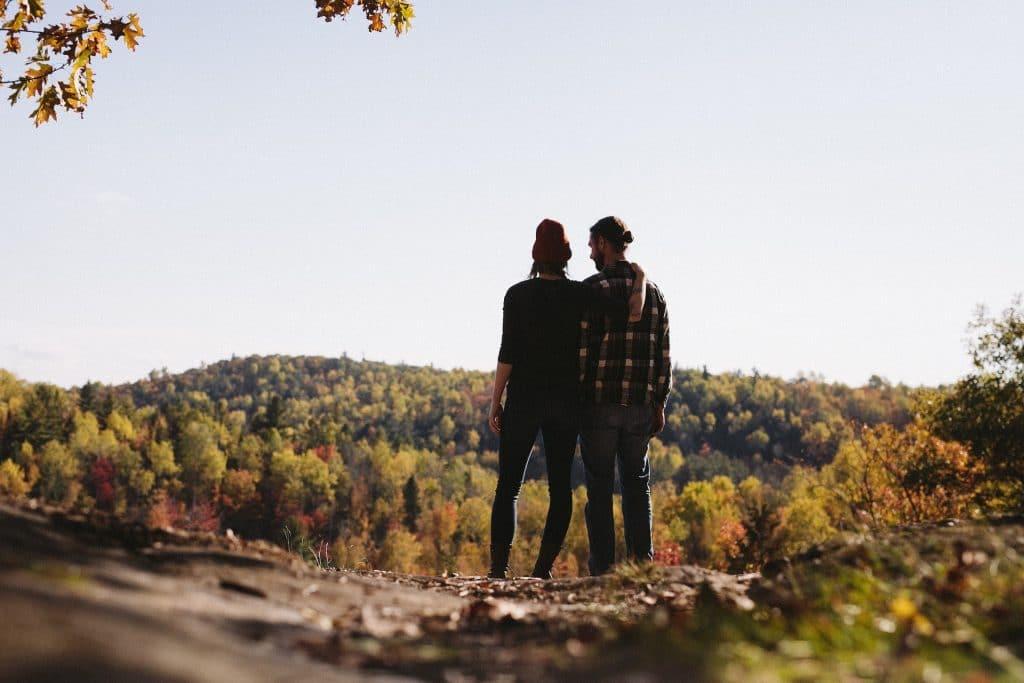 Couple on mountain summit