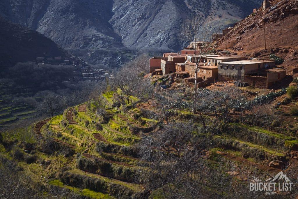 Terraced fields in Morocco High Atlas Mountains