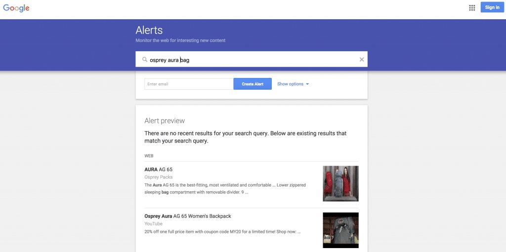 Google Alerts for trekking kit