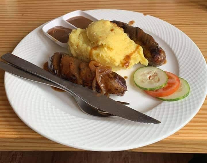 Sausage and mash at Cafe 8848, Namche