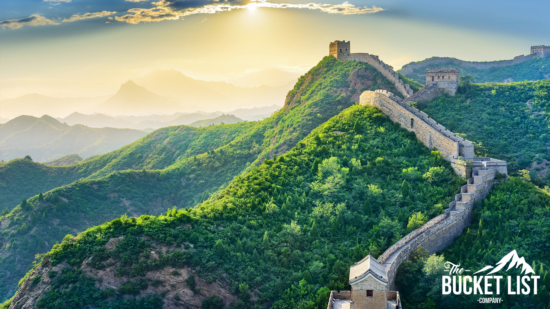 A stunning photo of the Great wall of china running through Chinese Mountains