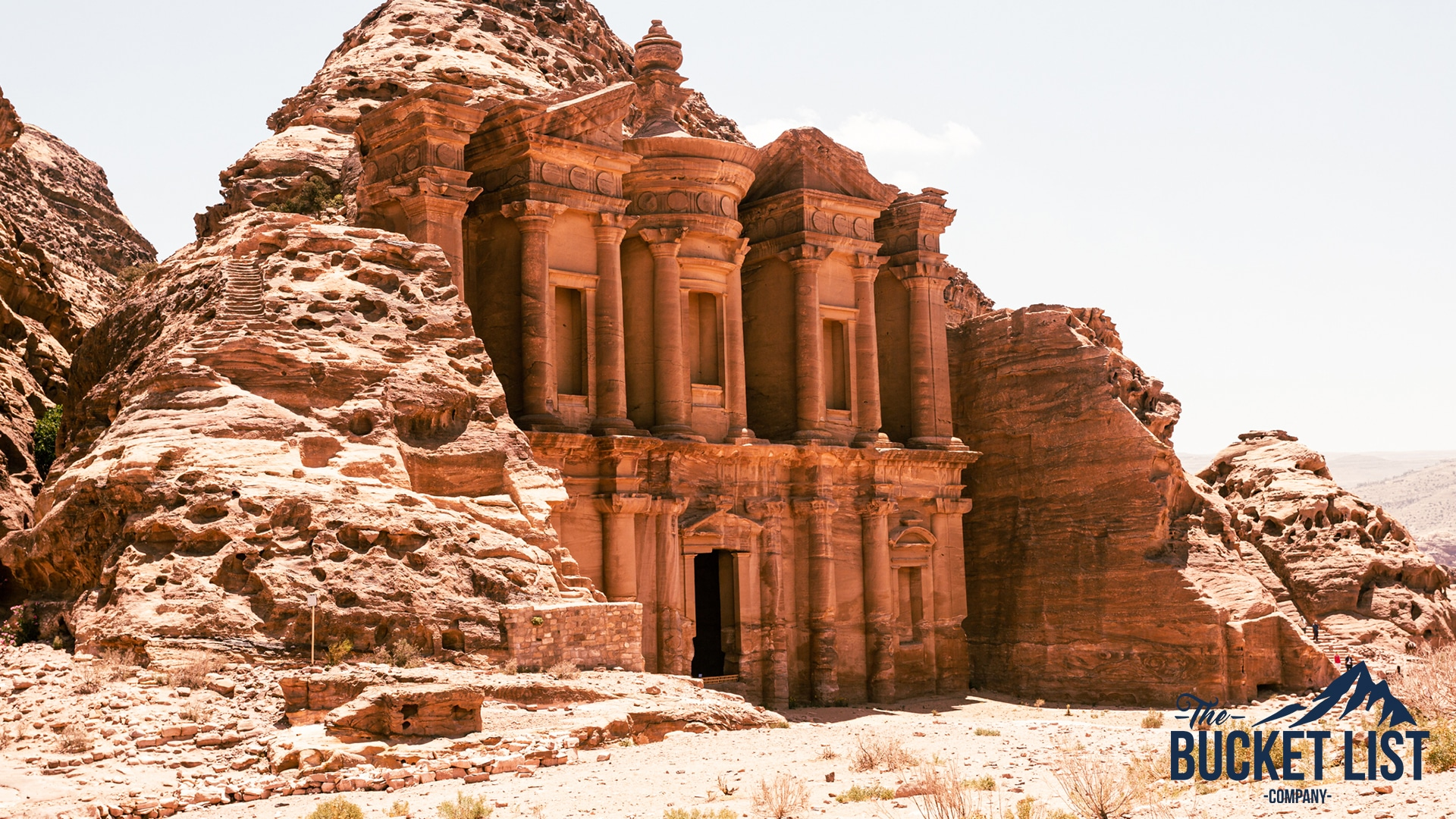 The amazing wonder of the world Petra that is found caved into a mountain side in Jordan
