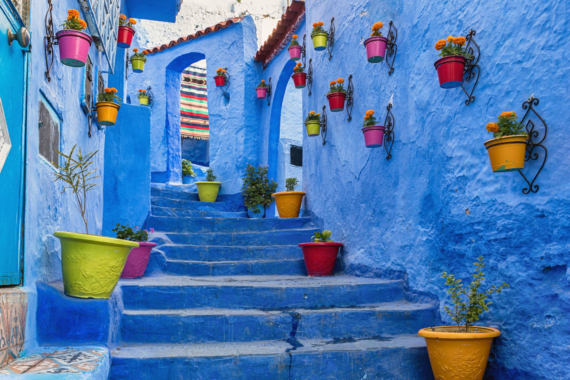 blue steps and coloured flower pots  in Morocco