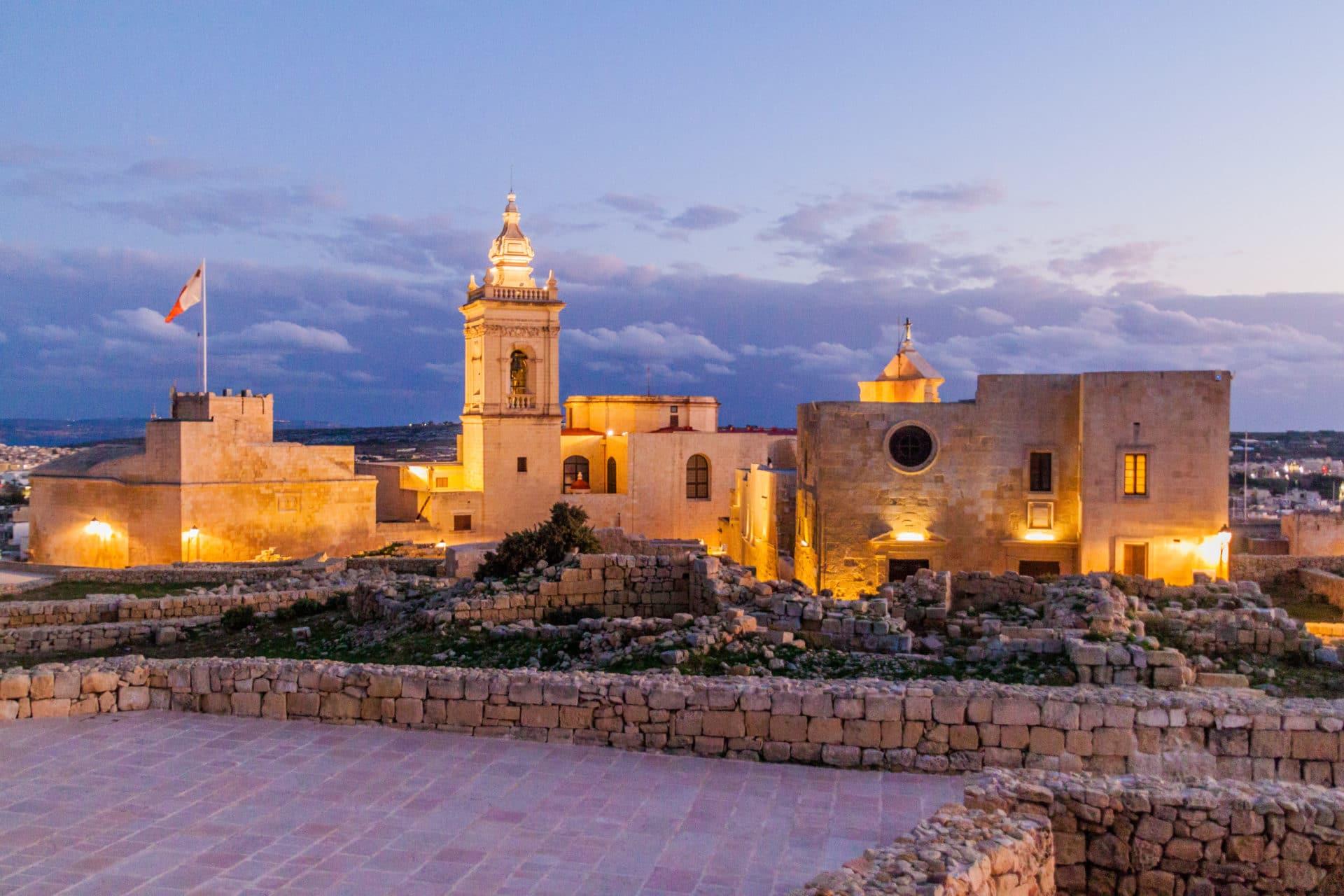 View of the Cittadella, citadel of Victoria, Gozo Island, Malta